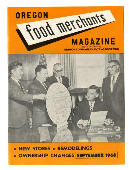 Percy Loy on the cover of Oregon Food Merchants magazine
