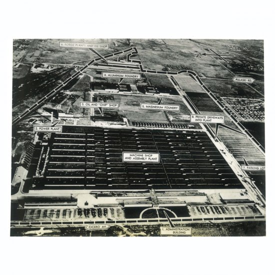 Airplane photograph of a Dodge B-29 engine plant, 1940s. Different parts of the factory are marked with text overlays.