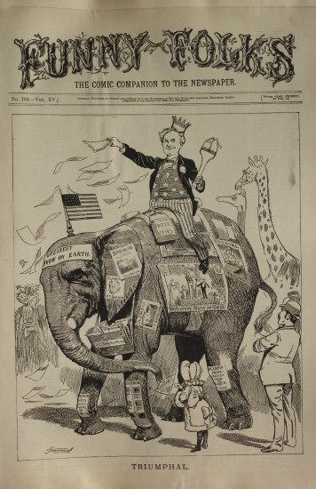 An illustrated cover to some sort of publication with a comic of a man wearing a crown atop an elephant with pieces of paper taped to it.