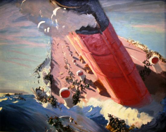 Painting in vivid colors depicting Lusitania half-sunk, smoke billowing
