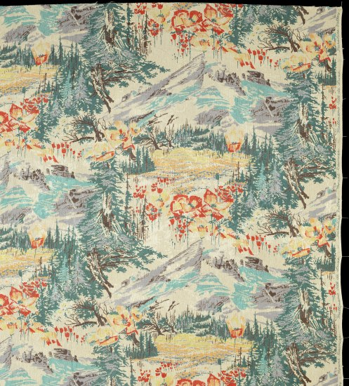A patterned silk with teal and green pine trees, red flowers, and grey mountains. The illustration on the pattern is whispy and impressionistic; barely repeating if at all.
