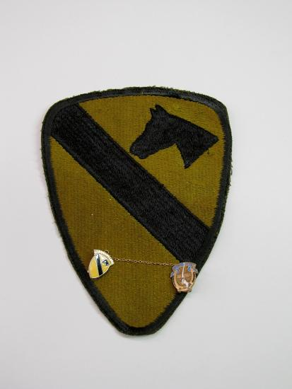 Yellow triangular patch with horse at top right, bar going diagonally across, and pins at the bottom