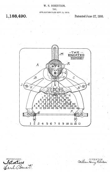 Black and white line drawing of monkey educational toy with signatures and patent information