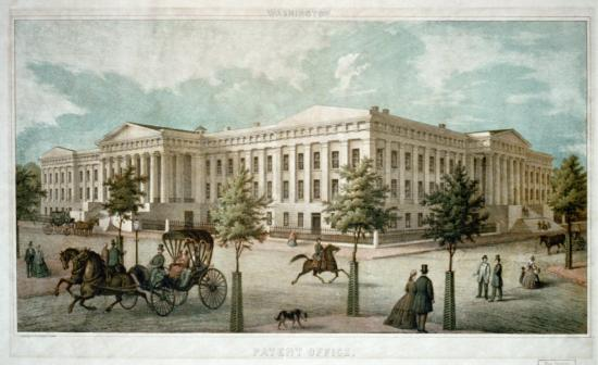 Image of large white building, cloudy sky, street scene in front with carriage