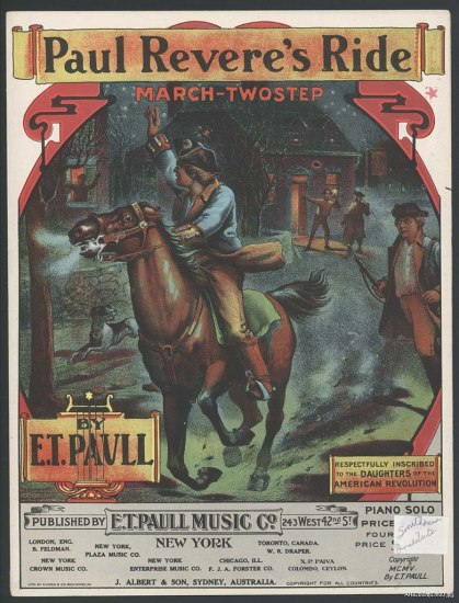 The cover to a song. There is an illustration of a man riding a horse through a town, waving his arm.