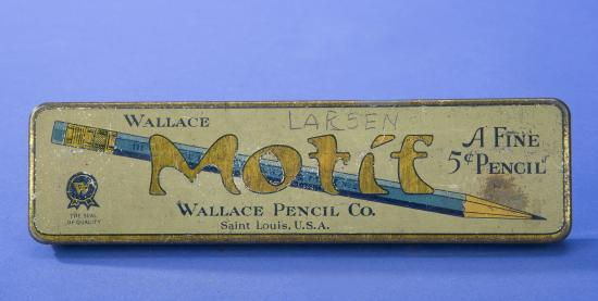 Wallace Pencil Company Motif Pencil Box with image of blue pencil and yellow lettering