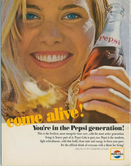 Color ad for Pepsi with smiling blonde woman holding glass bottle of Pepsi