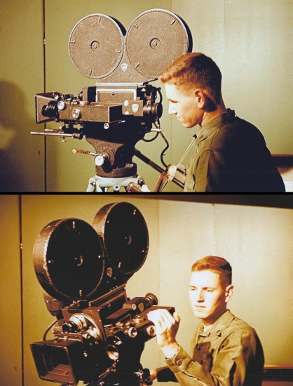 Two photos. A young man with short blonde hair is indoors operating a film video camera. He wears a uniform. He looks into the viewfinder in one image and adjusts a setting in the second image.