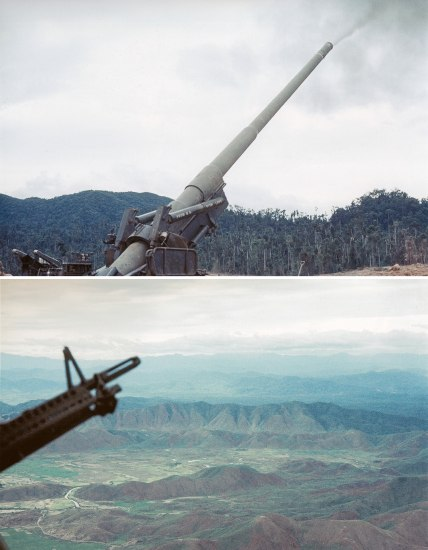 Two photographs of military equipment. The first has a background with trees and mountains. The second has a background seen from a helicopter--a rocky, green, mountainous landscape.