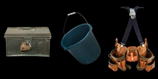 An alms box, a mop bucket, and a tool belt.