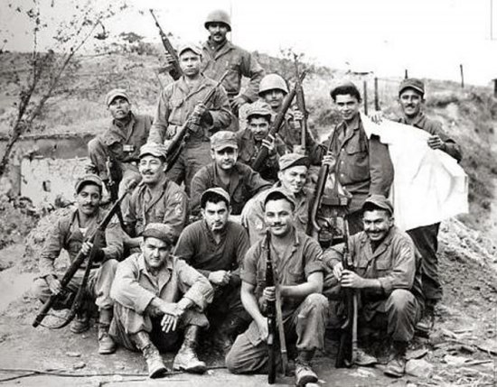 Photograph of members of the 65th Infantry Regiment during the Korean War.