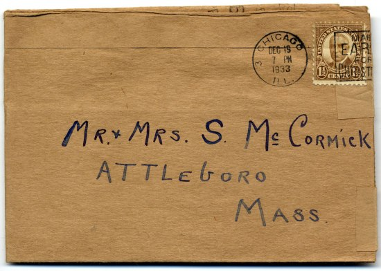 """Other side of brown rectangular card. It was a brown stamp with an image of Pres. Harding. Text in handwriting: """"Mr. and Mrs. S. McCormick Attleboro Mass."""" Postmarked in 1933."""