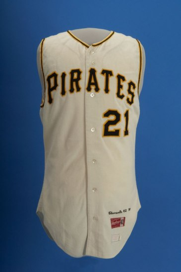 A white, sleeveless Pirates jersey with the number 21 and yellow and black detailing