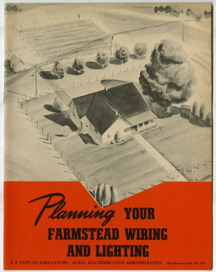 "Publication in black, white, and red with text ""Planning your farmstead wiring and lighting"""