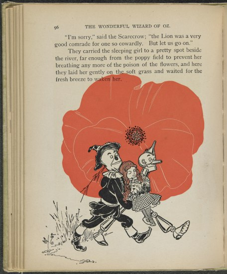 Scan of page from book. Illustration in black: Scarecrow, Tin Man, and Dorothy. Behind them, a large red poppy.
