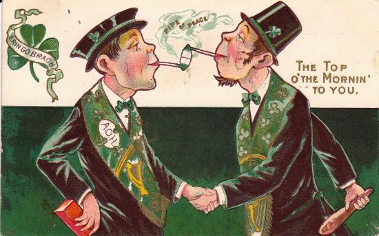 Postcard featuring two Irish men