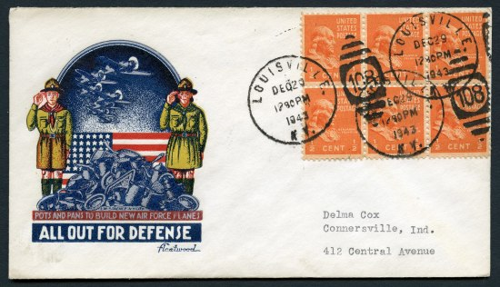 Envelope with six orange stamps and five cancellation marks stamped on them. Illustration on left includes two Boy Scouts, three planes, and a pile of scrap metal.