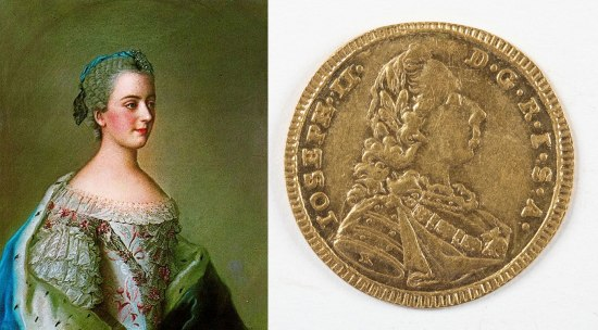Painting of Princess Isabella and gold coin with Joseph II's profile