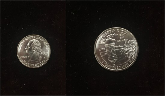 The heads and tails side of a standard quarter. It is a Puerto Rico quarter, with a bay and flowers and the year 2009