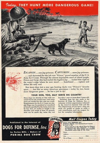 Ad for dog food. Black and white illustration shows a scene on a beach. A soldier points a gun at a man who is in the water as a bog bards at him. His hands are raised.