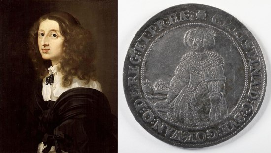 Painting of Queen Christina and silver-colored Queen Christina coin
