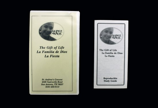 Supplemental materials for Quince Años eductaion, including a videocassete and a small study guide. Both items decorated with a design that includes a photograph of a smilig young woman and, beside her, the words Quince Años.