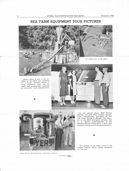 Black and white page from a brochure or pamphlet. It features four photos, including one in which four people (two men, two women) stand beside a kitchen device. In another, you can see an electric plant.