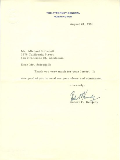 Letter signed by Attorney General Robert F. Kennedy