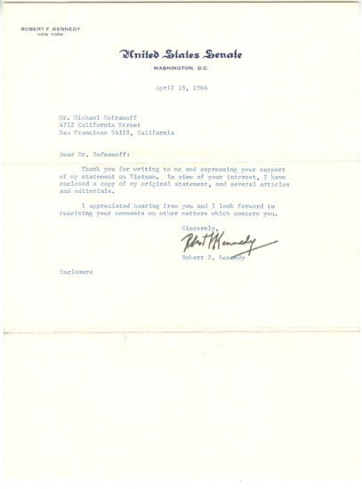 Letter signed by Senator Robert F. Kennedy