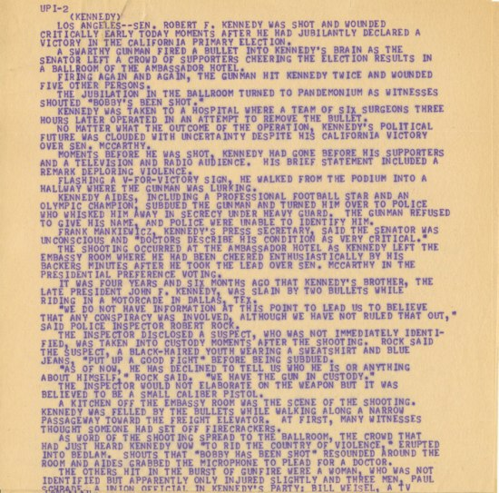 Teletype with purple lettering, written in all-caps