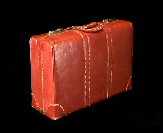 Photograph of a red leather Tucker briefcase