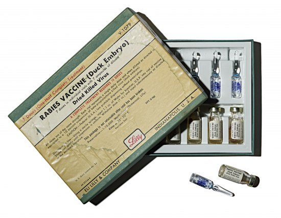 "Rectangular cardboard box labeled ""Rabies Vaccine (Duck Embryo)"" in a printed label. It is half open. Inside, vials with liquid are visible."