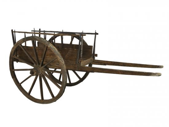 Wooden cart with two wheels with axle and box space for cargo