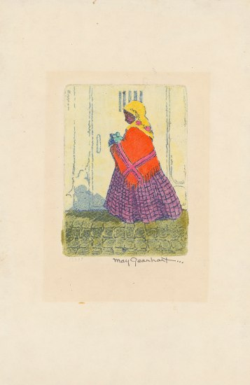 Etching of a female figure wearing yellow head scarf, red shawl, purple, long dress, in front of closed doorway.