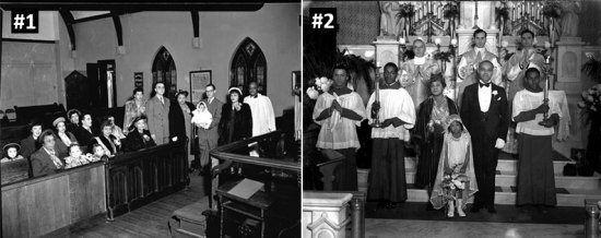 Two black-and-white photos of religious ceremonies. On left, a baptism. On right, perhaps a first communion.