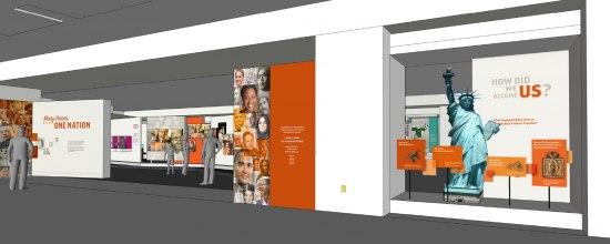 Rendering of display in orange and purple
