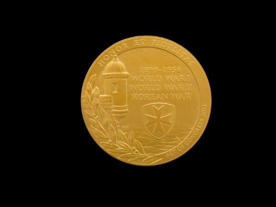 Gold medal with part of a seaside fort, leaves, and medal.