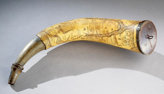 Horn etched with detailed map
