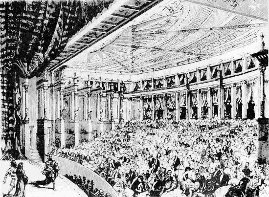 Black and white illustration of performers on stage in front of large audience