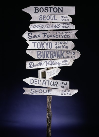"Wooden branch sign post with arrow-shaped wooden signs posted that point to different places and list distances. For example, ""Seoul 34 mi"" ""Coney Island 7033 miles"" ""Toledo 6133 miles"""