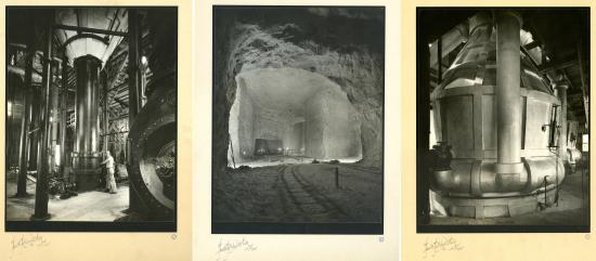 3 black and white photographs depicting equipment of salt mine