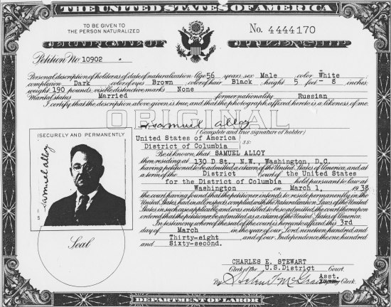 Scan of document, a certificate of citizenship. It includes a portrait of a man (headshot style) and text, including the seal of the US.
