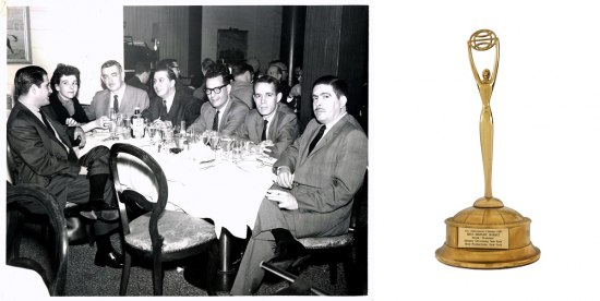"Collage image. On the left, a photograph of Sara Sunshine sitting with a group of advertising leaders (all men). On the right, a photograph of Sunshine's 1987 Clio award, a gold statue. The statue's label indicates the award is for the advertisement campaign ""Pepsi - 'The Drummer.'"""