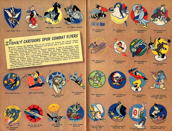 "Two-page spread, entitled ""Disney Cartoons Spur Combat Flyers,"" shows a range of colorful insignia"
