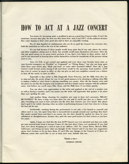"Pre-printed handout with title ""Hot to act at a jazz concert"""