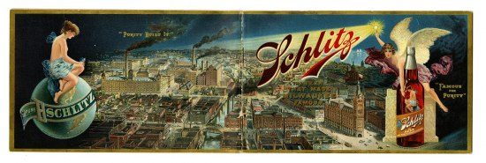 "a long, rectangular ad portraying an industrial city at night. A woman sits on top of a globe looking down and on the other side, an angel floats next to a bottle of beer and holds a wand up that broadcasts the name ""schlitz"" over the town"