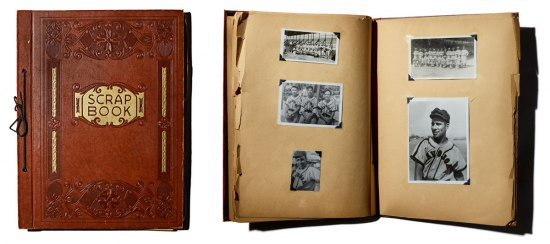 Collage of two photos. On the left is the cover of Leopoldo Martinez's red leather scrapbook. The embroidered book has features the text: Scrap Book. On the right is the book opened to show photos that Martinez affixed to the book's pages, including a pho