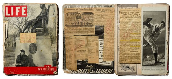 Collage of two photos. On the left is the cover of Leopoldo Martinez's LIFE magazine scrapbook. On the right is the book opened to show Martinez attached articles from newspapers on top of the LIFE magazine pages.