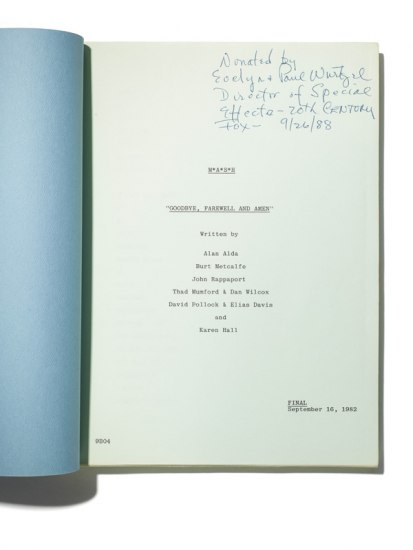 "Front page of script for episode ""Goodbye, Farewell and Amen"""