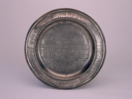 Plate made of pewter with fine details